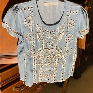 Lovers +friends chambray beaded cut out top, S